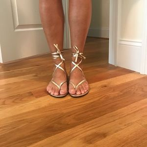 Michael Kors silver gladiator sandals